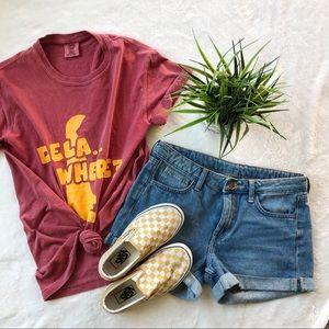 &Denim Mid Rise Jean Shorts